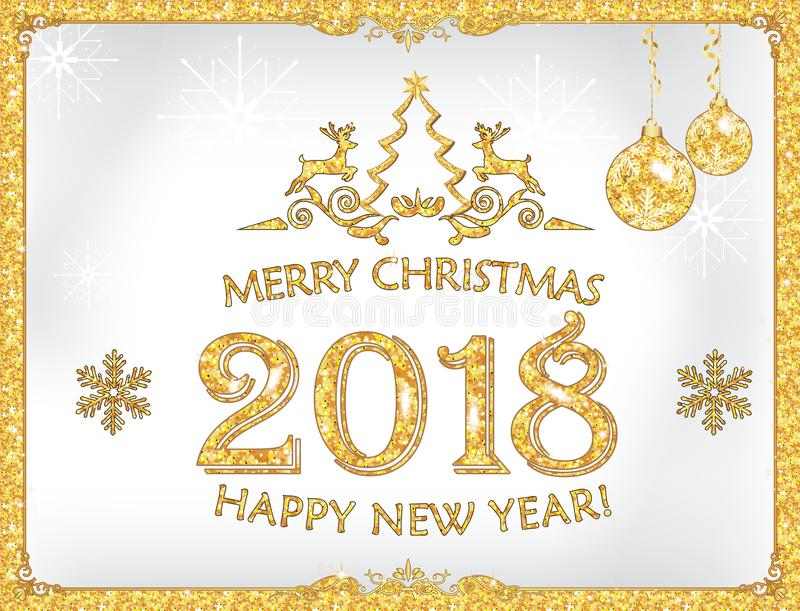Gelukkig Nieuwjaar 2018! - groetkaart met zilveren achtergrond stock illustratie