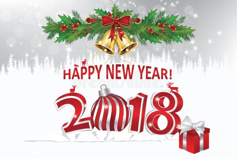 Gelukkig Nieuwjaar 2018! - groetkaart met zilveren achtergrond royalty-vrije illustratie