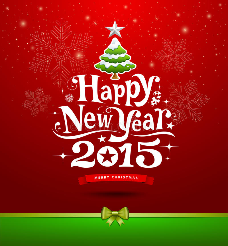 Gelukkig Nieuwjaar, het van letters voorzien het ontwerp van de Groetkaart