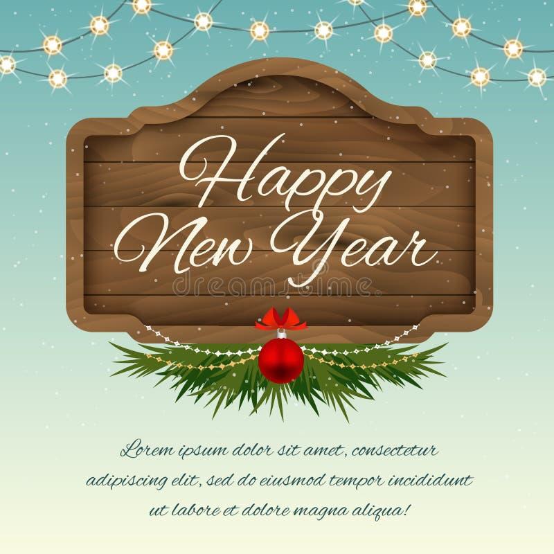 Gelukkig Nieuwjaar Houten tekenraad met decoratie Vector holid stock illustratie