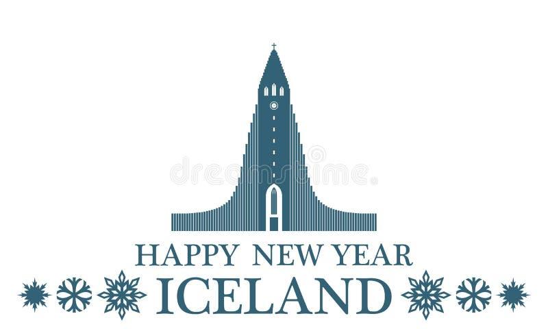 Gelukkig Nieuwjaar IJsland royalty-vrije illustratie