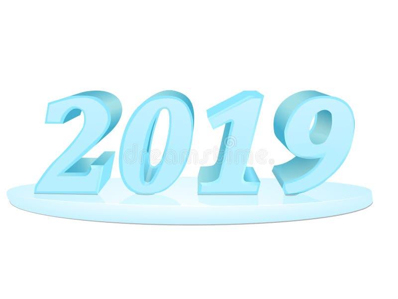 Gelukkig Nieuwjaar 2019 Inschrijving van blauwe vector 3D vector reeks royalty-vrije illustratie