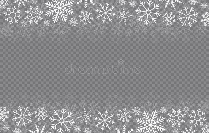 Gelukkig Nieuwjaar, Kerstmis en Kerstmis Falling Snow Sneeuwvlokken in verschillende vormen Wintervakantie Vectorsneeuwvlokken op royalty-vrije illustratie