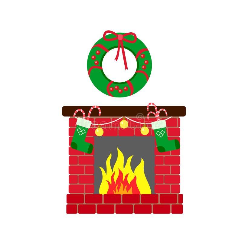 Gelukkig Nieuwjaar Kerstmiskroon, warmte van open haard en Kerstmissokken op een witte achtergrond stock illustratie