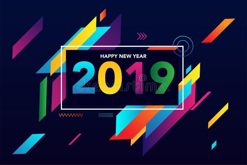 2019 Gelukkig Nieuwjaar kleurrijk creatief ontwerp als achtergrond voor uw groetenkaart, vliegers, affiches, brochure, banners, k royalty-vrije illustratie