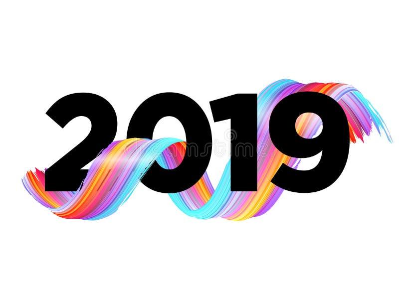 2019 Gelukkig Nieuwjaar Logo Design Het kan voor prestaties van het ontwerpwerk noodzakelijk zijn stock illustratie
