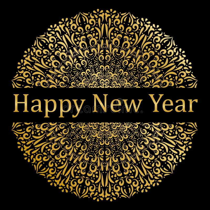 Gelukkig Nieuwjaar Mandala Design goud Elegant royalty-vrije stock foto's