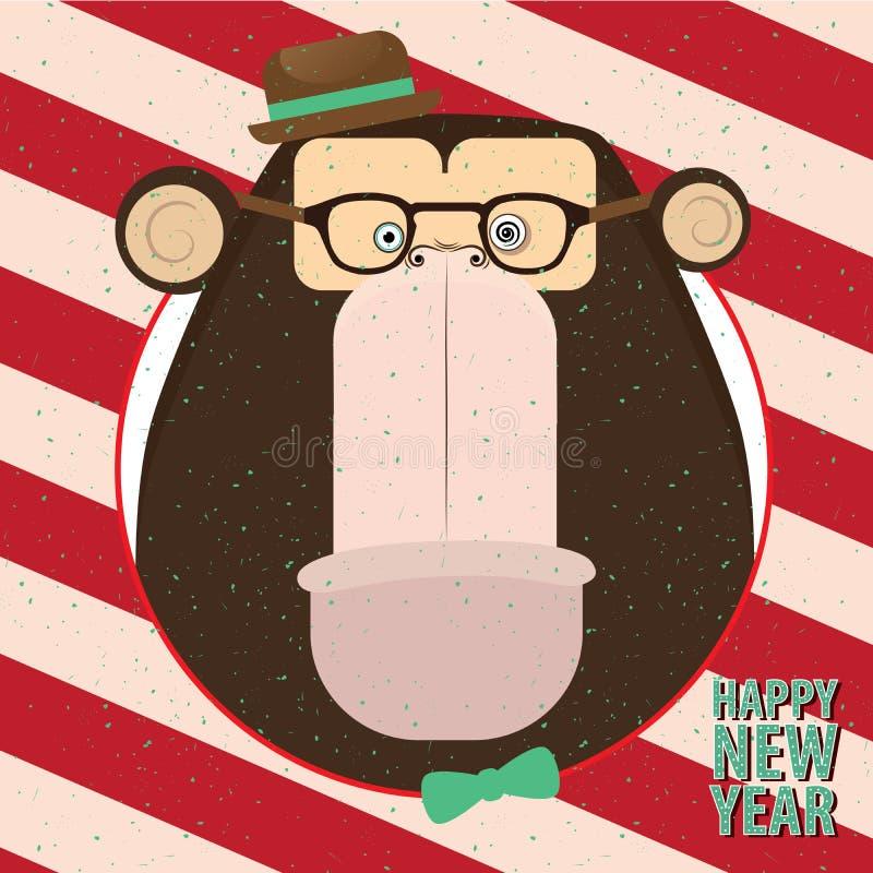Gelukkig Nieuwjaar met aap in suikergoed retro kader royalty-vrije illustratie