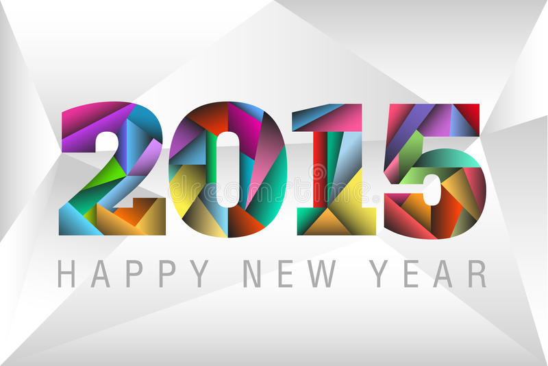 Gelukkig Nieuwjaar 2015 met kleurrijke driehoeken vector illustratie