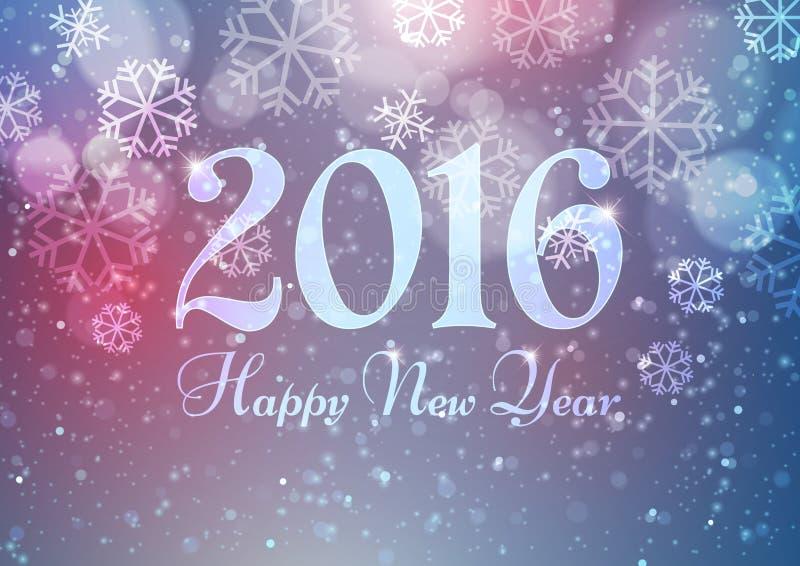 Gelukkig Nieuwjaar 2016 met Sneeuwvlokken op de Lichte Achtergrond van Bokeh stock illustratie