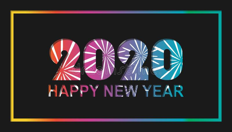 Gelukkig Nieuwjaar 2020 met Vuurwerk - Kleurrijk Kaartontwerp - Vectorillustratie op Zwarte Achtergrond stock illustratie