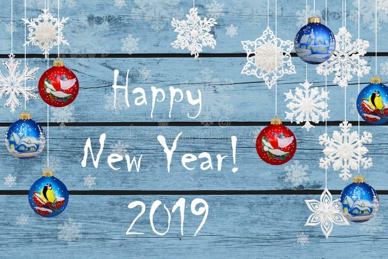 Gelukkig Nieuwjaar! Nieuwjaardecoratie: sneeuwvlokken en Kerstmis B vector illustratie