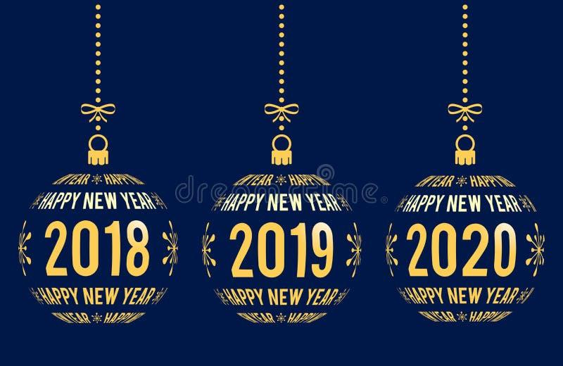 Gelukkig Nieuwjaar 2018, 2019, 2020 ontwerpelementen stock illustratie