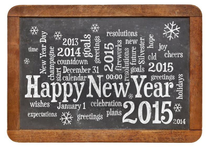 Gelukkig Nieuwjaar 2015 op bord stock fotografie