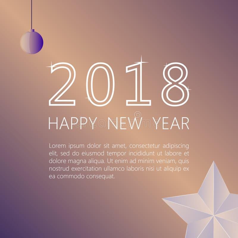 Gelukkig Nieuwjaar 2018 op een beige achtergrond Ontwerp van een groetbanner met een inschrijving vector illustratie