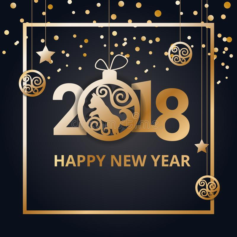 Gelukkig Nieuwjaar 2018 op een zwarte achtergrond Ontwerp van een felicitatiebanner vector illustratie