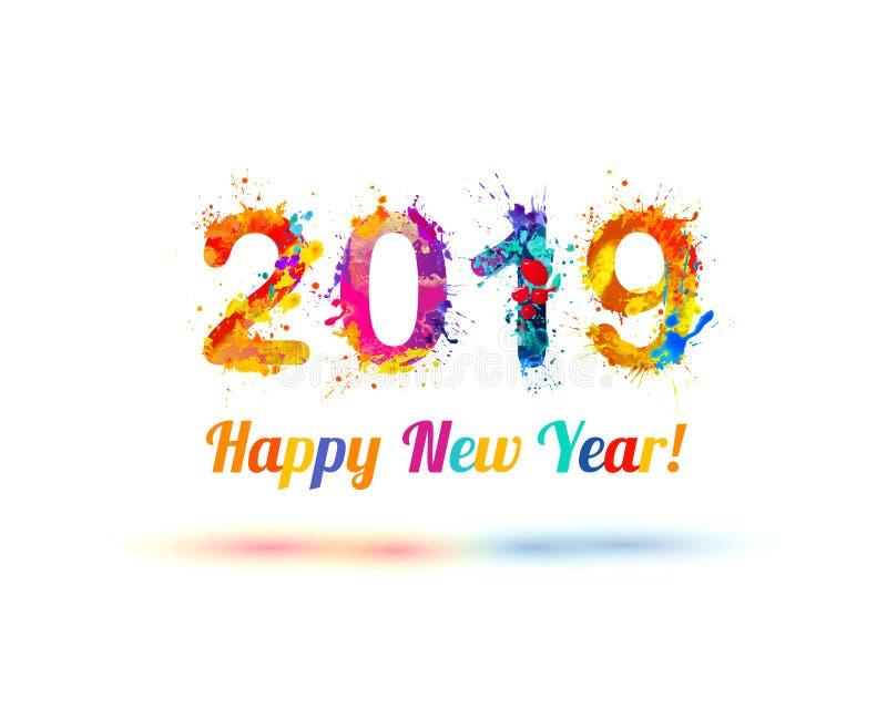 Gelukkig Nieuwjaar 2019! Plonsverf stock illustratie