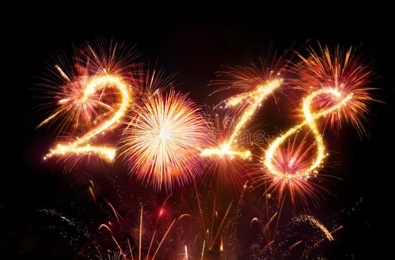 Gelukkig Nieuwjaar - Rood Vuurwerk stock foto's