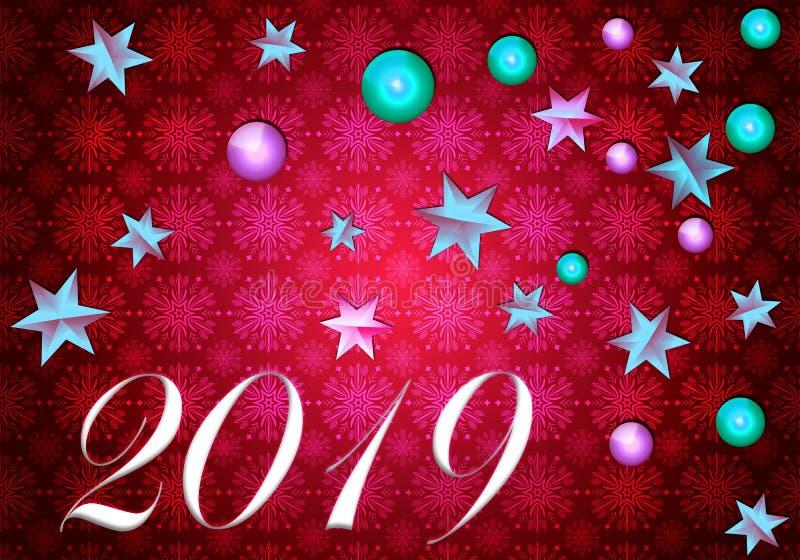 Gelukkig Nieuwjaar 2019 roze stock illustratie