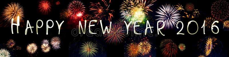 Gelukkig Nieuwjaar 2016 sterretjesvuurwerk royalty-vrije stock fotografie