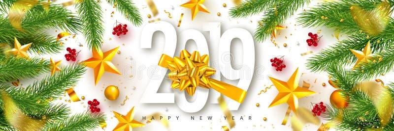 2019 Gelukkig Nieuwjaar Universele vectorachtergrond met Gouden boog, spartakken, Lijsterbes, sterren en kronkelweg Geschikt voor royalty-vrije illustratie