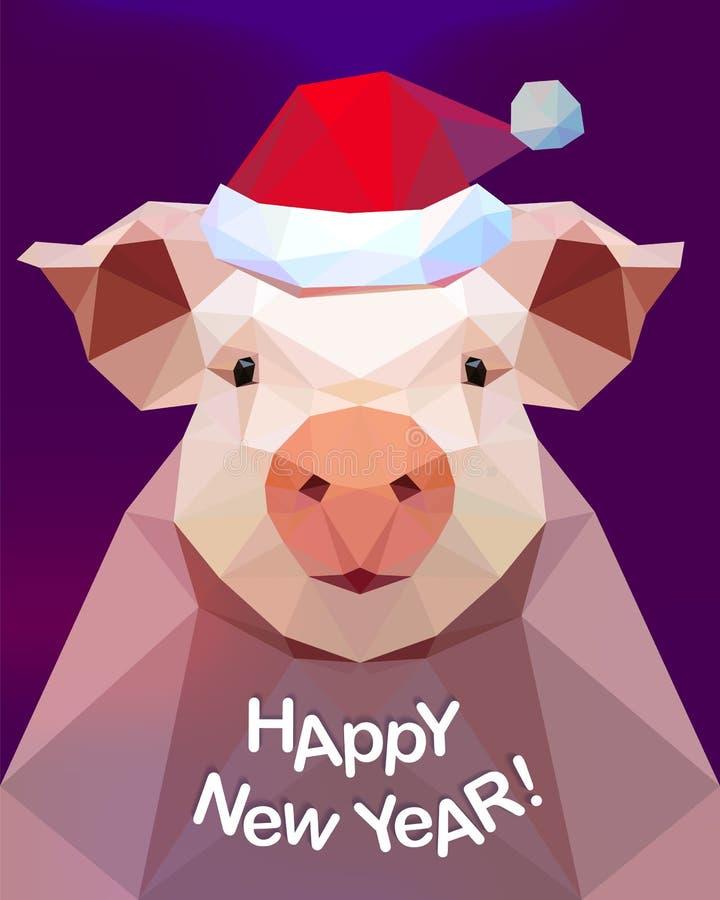 Gelukkig Nieuwjaar! Varken - symbool van 2019 royalty-vrije illustratie