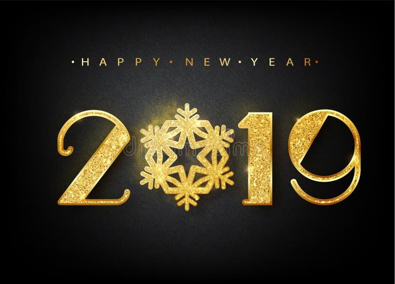 2019 Gelukkig Nieuwjaar Vector Gelukkige het Nieuwjaarachtergrond van 2019 met gouden bal Vector 10 eps stock illustratie