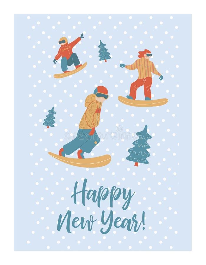 Gelukkig Nieuwjaar Vector illustratie Een reeks karakters nam in wintersporten en recreatie in dienst vector illustratie
