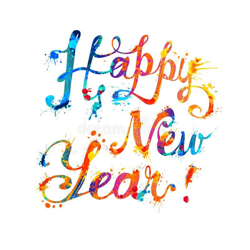Gelukkig Nieuwjaar Vector kalligrafische brieven stock illustratie