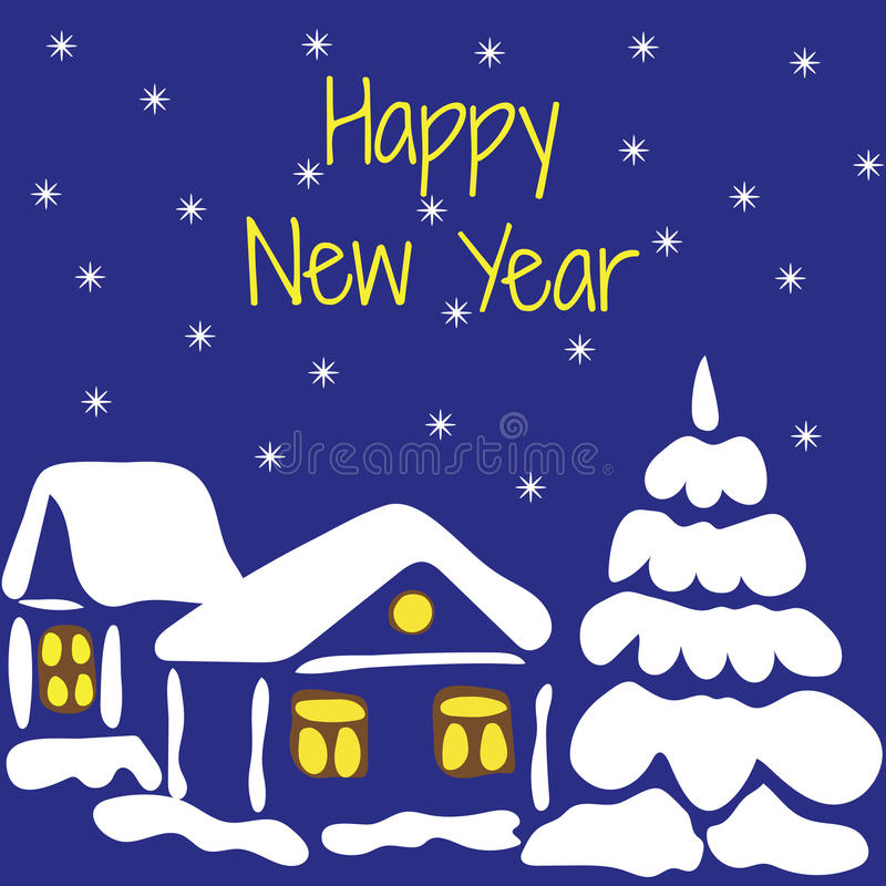 Gelukkig Nieuwjaar Vectorillustratie van een sneeuw behandeld huis en royalty-vrije illustratie