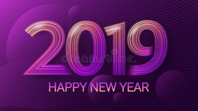 Gelukkig Nieuwjaar 2019 viering Kerstmis Donkere ultraviolette achtergrond Vector vector illustratie