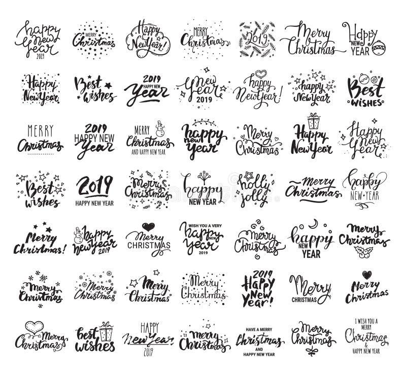 Gelukkig Nieuwjaar, Vrolijke Kerstmis, Beste wensen Grote met de hand geschreven het van letters voorzien inzameling Vectorclipar royalty-vrije illustratie