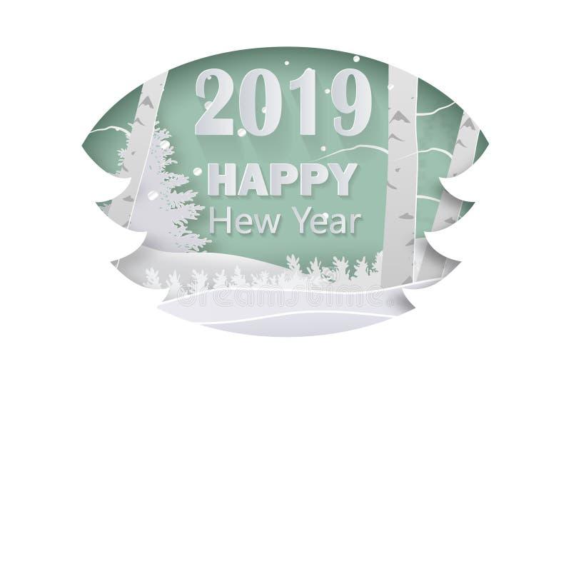 2019 Gelukkig Nieuwjaar of Vrolijke Kerstmis, document AR vector illustratie