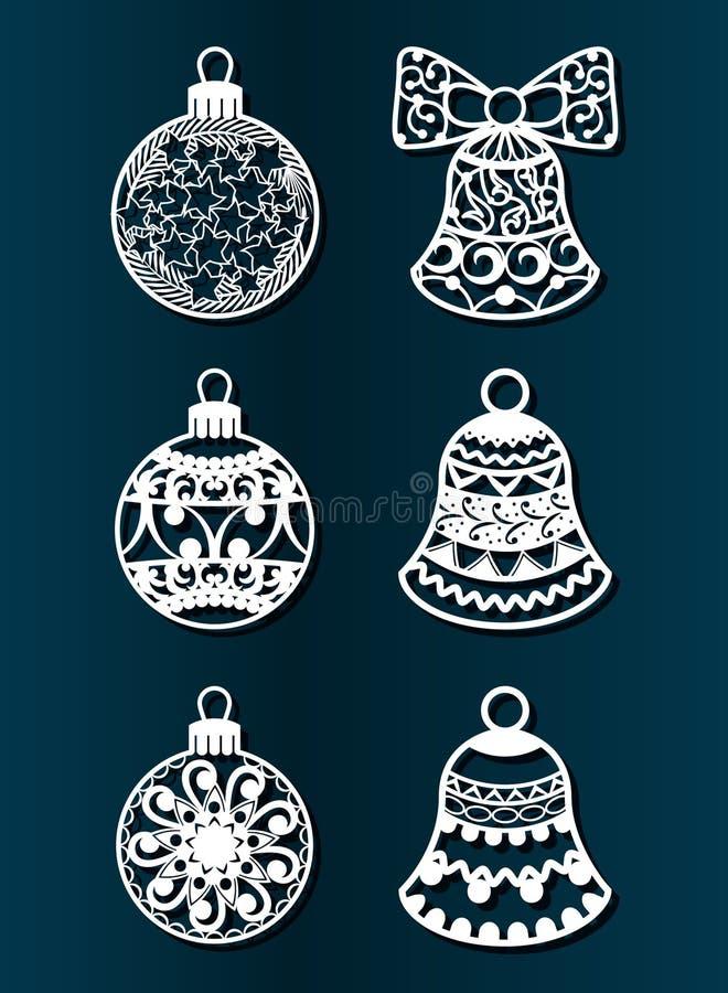 Gelukkig Nieuwjaar, Vrolijke Kerstmis, Laserbesnoeiing Reeks Kerstmisdecoratie Geïsoleerde visnetvoorwerpen van speelgoed, ballen royalty-vrije illustratie