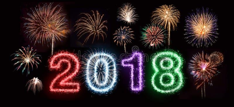 Gelukkig Nieuwjaar 2018 Vuurwerk royalty-vrije illustratie