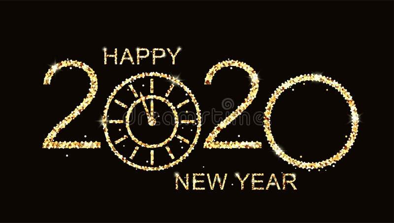2020 Gelukkig nieuwjaar, zelfs gloeiend tekstontwerp met gouden klok op zwarte achtergrond stock illustratie