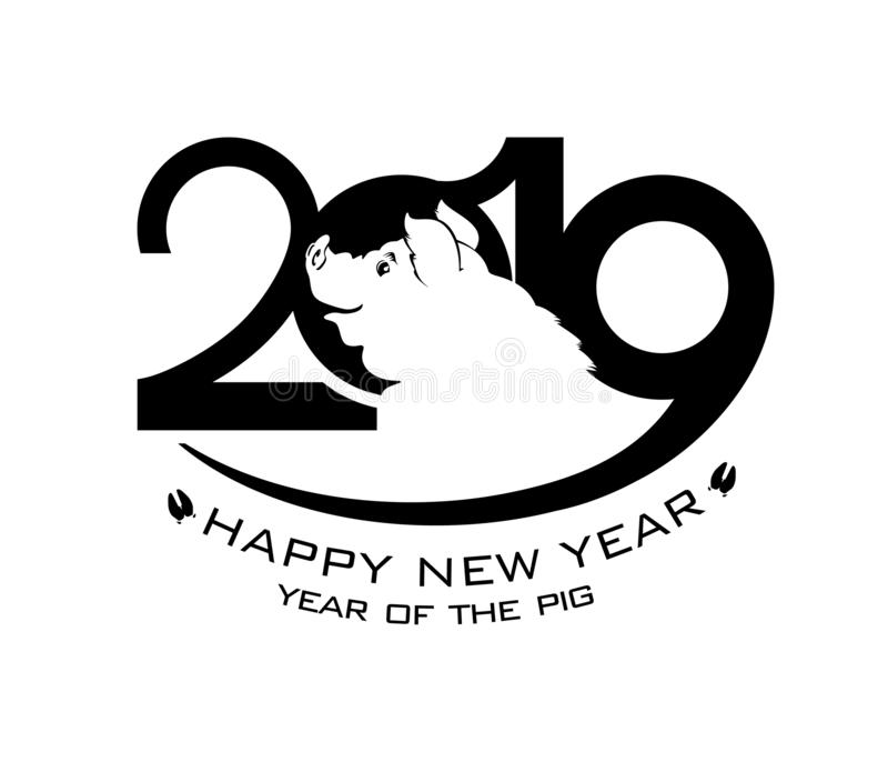 2019 Gelukkig Nieuwjaar Zwart malplaatje 2019 met een silhouet van een het glimlachen varken Vlak die patroon op witte achtergron vector illustratie