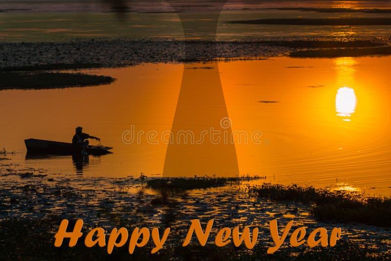 Gelukkig Nieuwjaarbeeld met Zonsopgang en Boatman Silhouette stock afbeelding