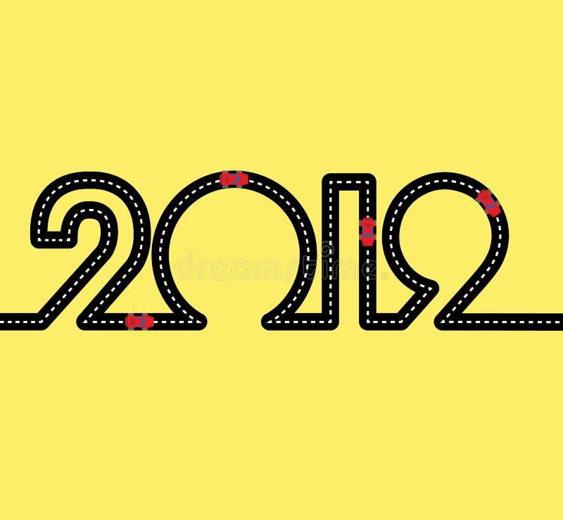 Gelukkig Nieuwjaarconcept - weg met auto's stock illustratie