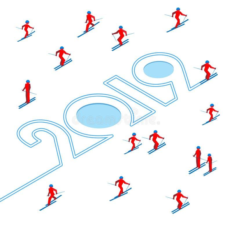 Gelukkig Nieuwjaarconcept - wintersporten vector illustratie