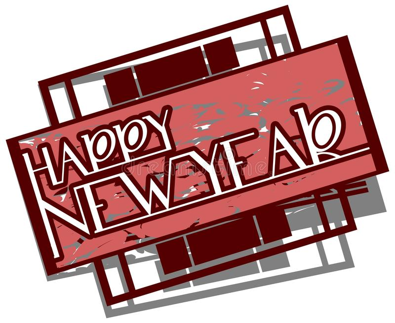 Gelukkig Nieuwjaaretiket in rode tonen stock illustratie