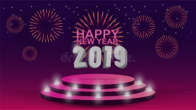 2019 Gelukkig Nieuwjaarmalplaatje met creatief ontwerp als achtergrond voor uw groetenkaart, uitnodiging, affiches, brochure, ban vector illustratie