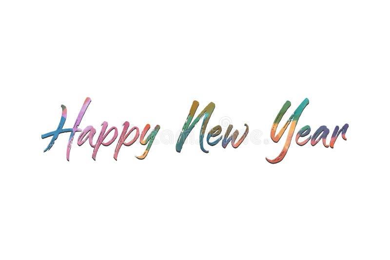 Gelukkig Nieuwjaarontwerp met tekst op witte achtergrond royalty-vrije stock foto