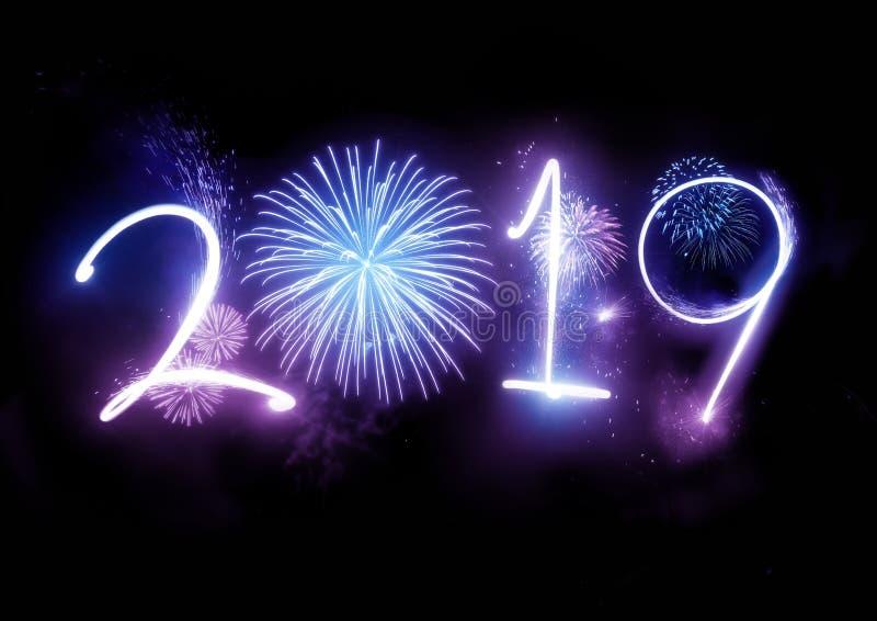 2019 gelukkig Nieuwjaarvuurwerk stock foto's