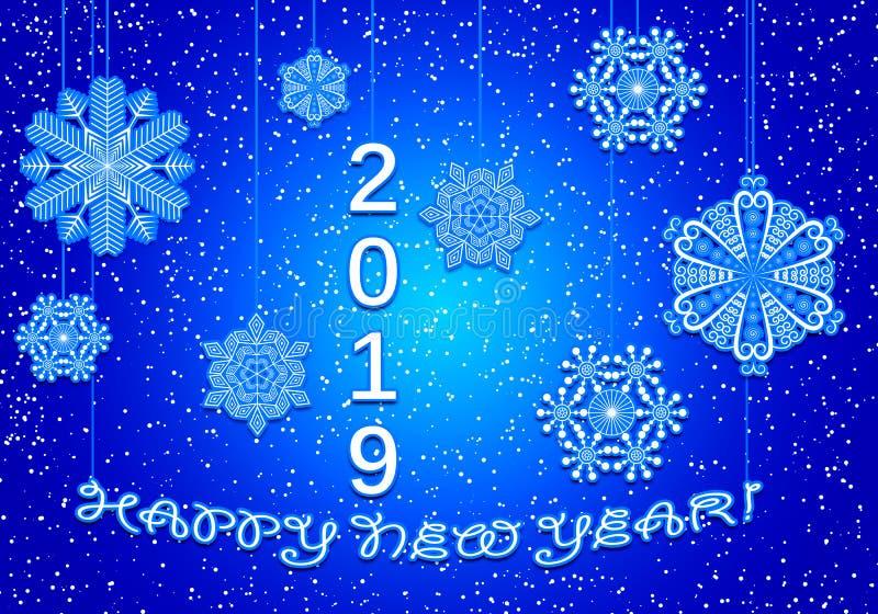2019 Gelukkig Nieuwjarenblauw stock illustratie