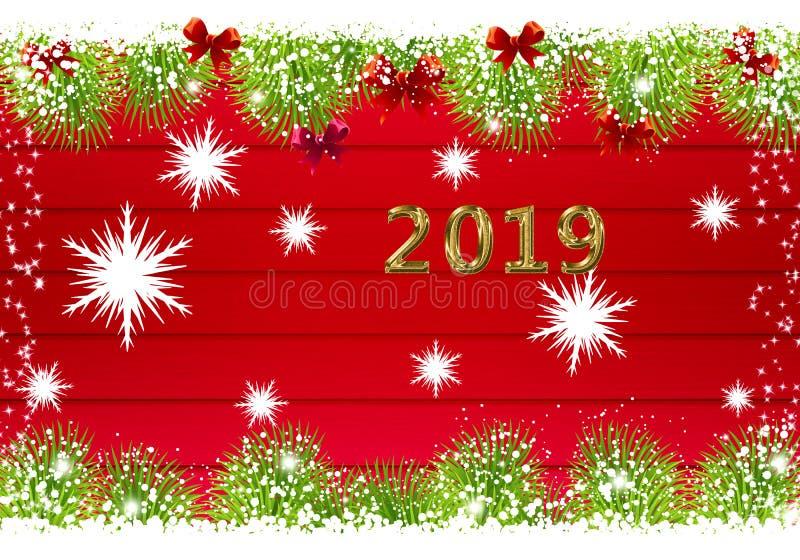 2019 Gelukkig Nieuwjarenrood stock illustratie