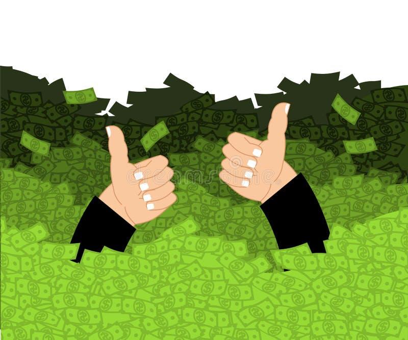 Gelukkig in oceaan van geld Contant geldgolven geveegde persoon rijkdom luxe royalty-vrije illustratie