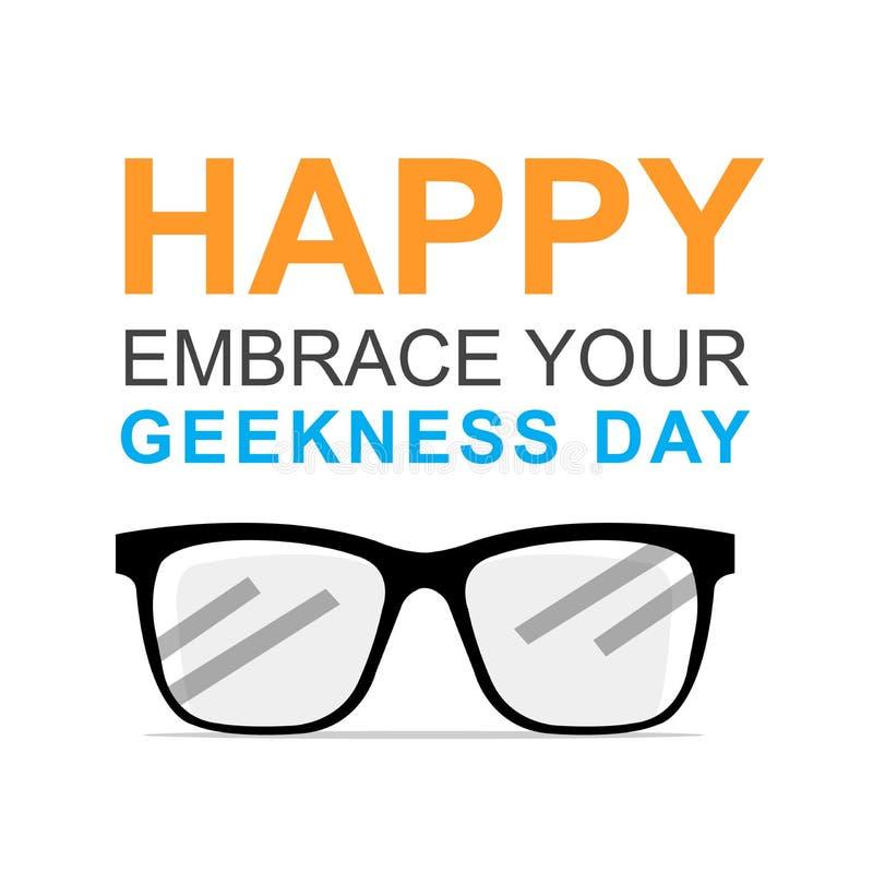 Gelukkig omhels Uw Geekness-Dag stock afbeeldingen