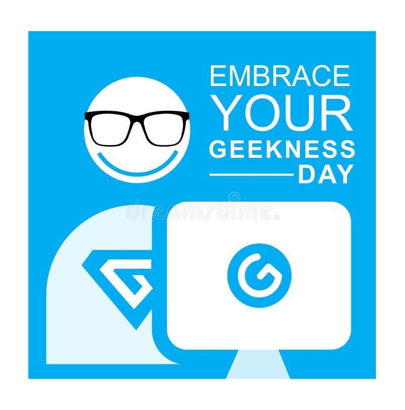 Gelukkig omhels Uw Geekness-internationale Dag royalty-vrije stock foto