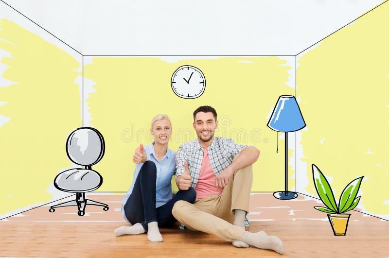 Gelukkig paar die duimen tonen bij nieuw huis stock illustratie